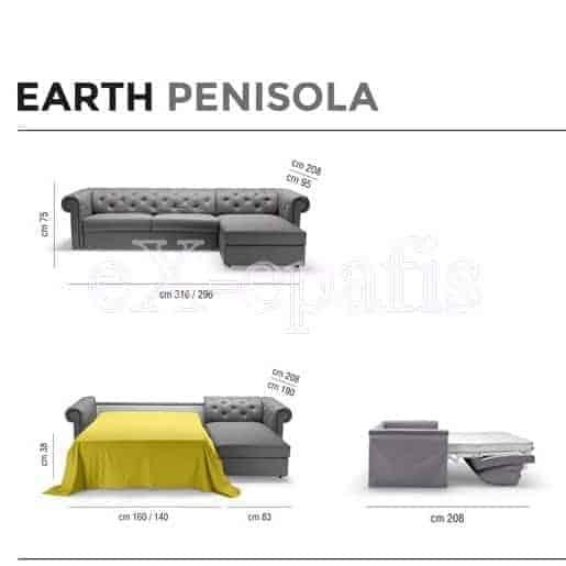 καναπές γωνιακός με κρεβάτι earth penisola noctis διαστάσεις