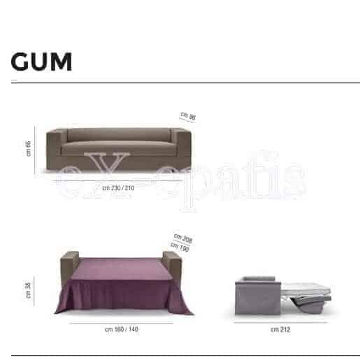 καναπές κρεβάτι Gum noctis διαστάσεις