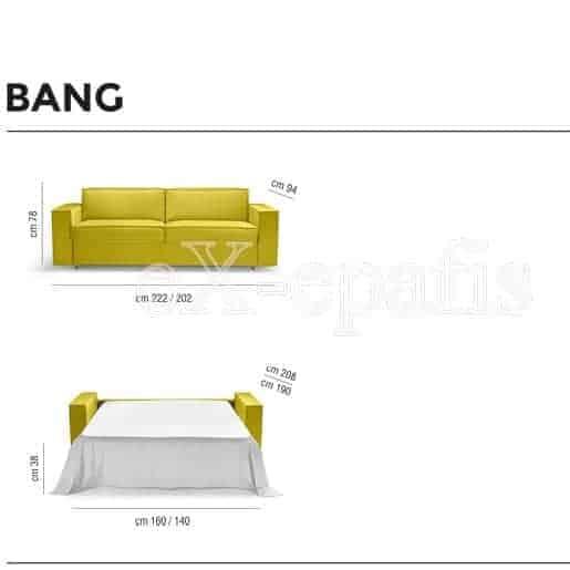 καναπές κρεβάτι bang noctis διαστάσεις