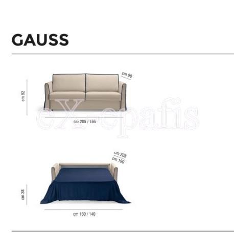 καναπές κρεβάτι gauss noctis διαστάσεις