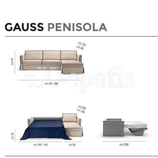 καναπές κρεβάτι gauss penisola noctis διαστάσεις