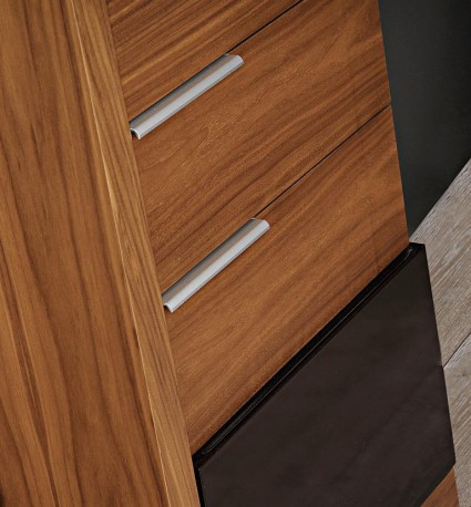 κρεβατοκάμαρα aria καρυδιά λεπτομέρεια συρταριέρα
