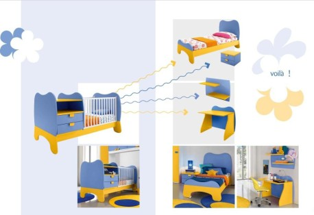 μετατροπή κούνιας σε κρεβάτι και γραφείο baby101 colombini