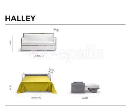 καναπές κρεβάτι halley noctis διαστάσεις