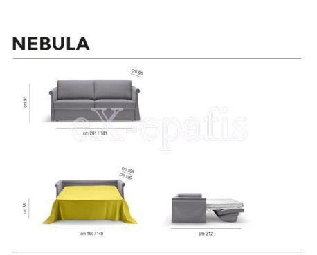 καναπές κρεβάτι nebula noctis διαστάσεις