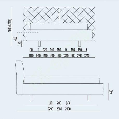 Κρεβάτι Phill Capitonne Noctis - Διαστάσεις