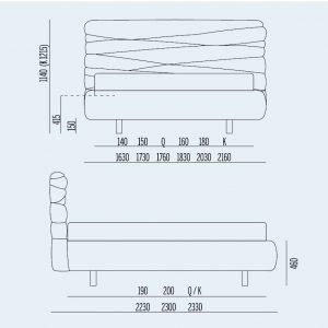 Κρεβάτι Andy Noctis - Διαστάσεις