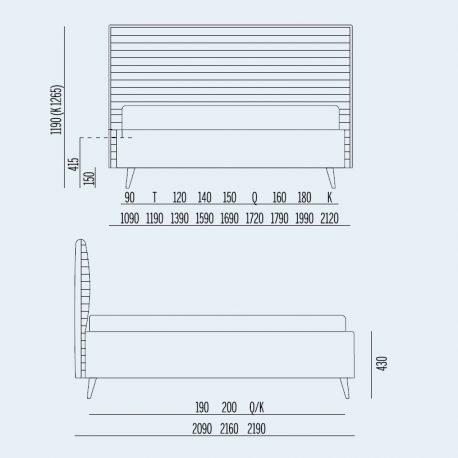 Κρεβάτι Bob Stripes Noctis - Διαστάσεις