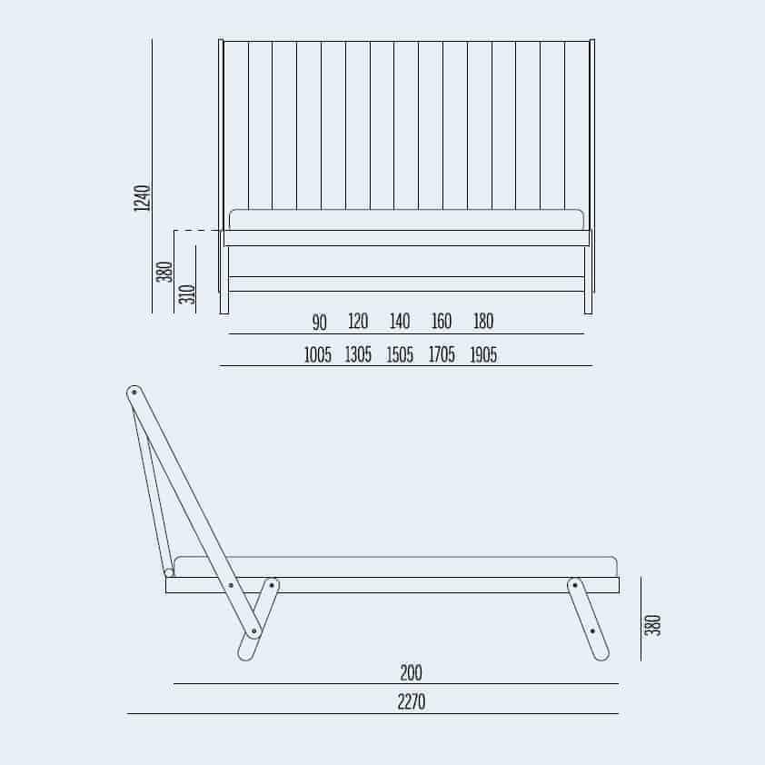 Κρεβάτι Tolo High Noctis - Διαστάσεις