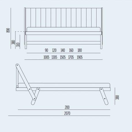 Κρεβάτι Tolo Noctis - Διαστάσεις
