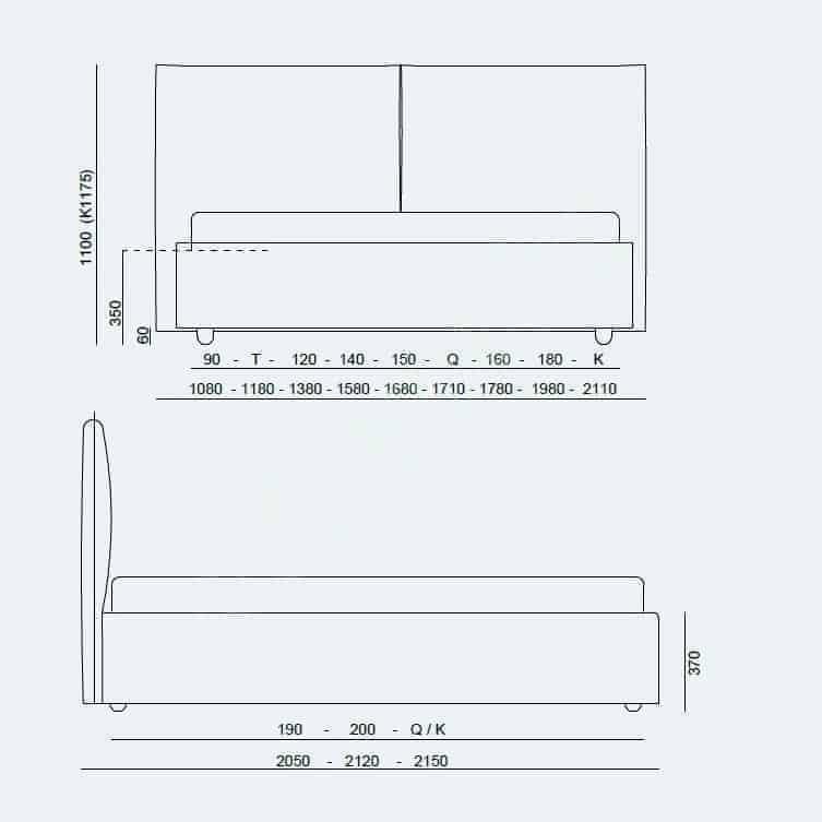 Κρεβάτι Bridge Project Noctis - Διαστάσεις