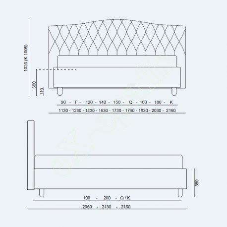 Κρεβάτι Dream Capitonne Project Noctis - Διαστάσεις