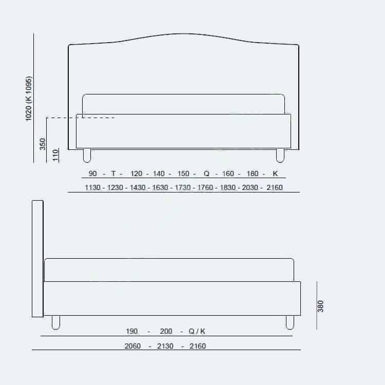 Κρεβάτι Dream Modern Fix Project Noctis - Διαστάσεις