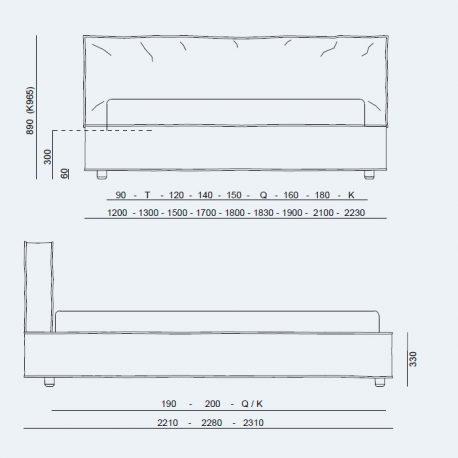 Κρεβάτι Duck Project Noctis - Διαστάσεις