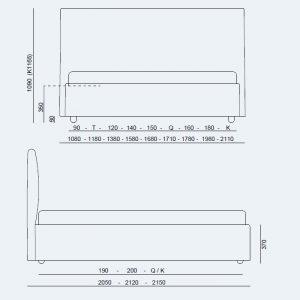 Κρεβάτι Manuel Project Noctis -Διαστάσεις