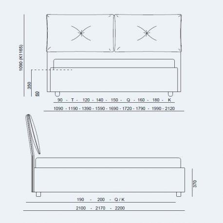 Κρεβάτι Portofino Project Noctis - Διαστάσεις