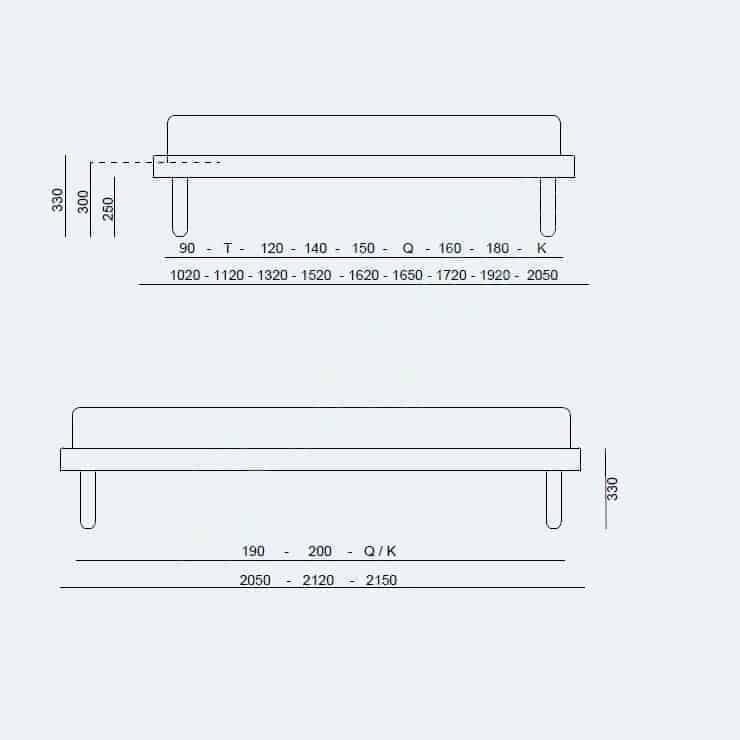 Κρεβάτι Sommier Fix Project Noctis - Διαστάσεις