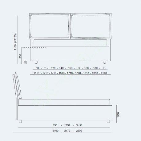 Κρεβάτι Vera Advance Air Project Noctis - Διαστάσεις