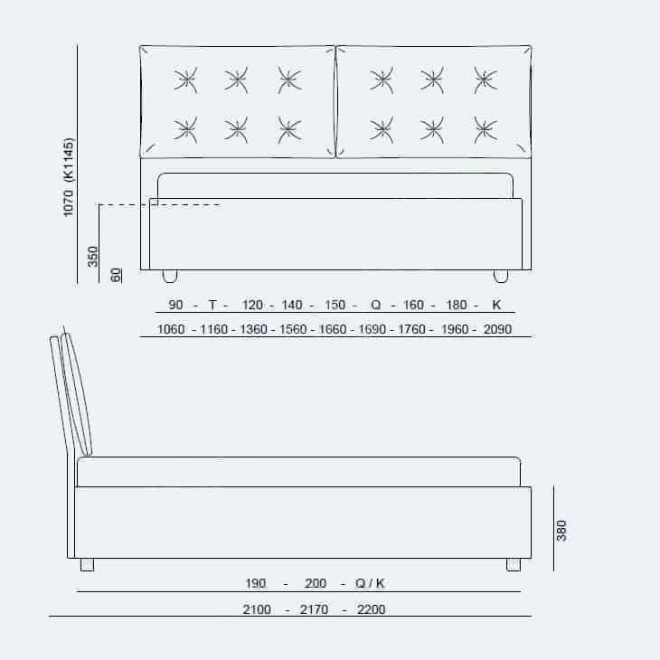 Κρεβάτι Vera Advance X Project Noctis - Διαστάσεις