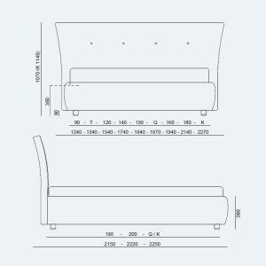 Κρεβάτι Zico Project Noctis - Διαστάσεις