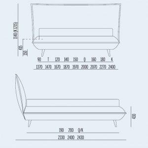 Κρεβάτι Davis Noctis - Διαστάσεις