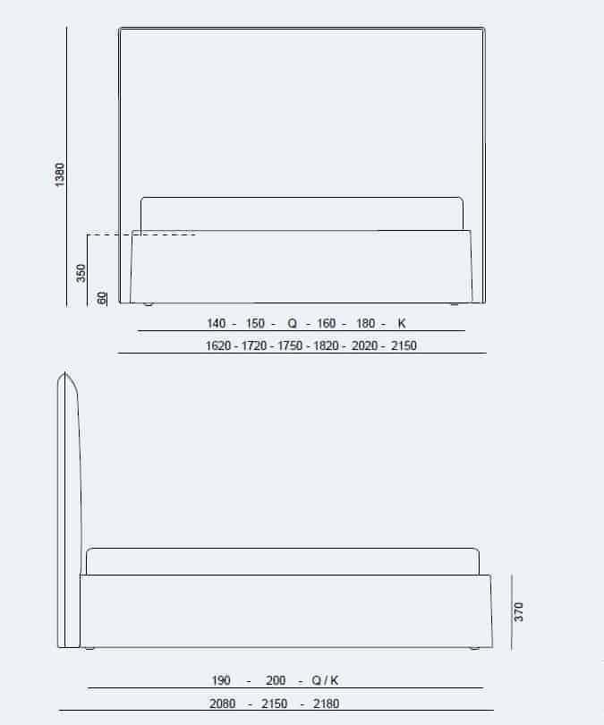 Κρεβάτι Me Large Project Noctis - Διαστάσεις