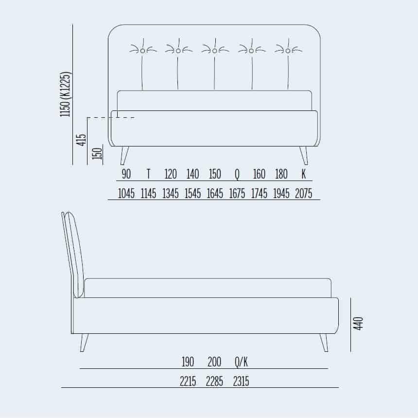 Κρεβάτι Paco Noctis - Διαστάσεις