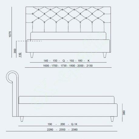 Κρεβάτι Paris Large Project Noctis - Διαστάσεις