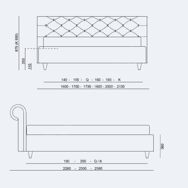 Κρεβάτι Paris Project Noctis - Διαστάσεις