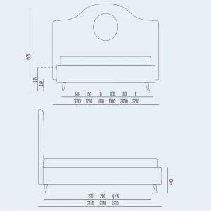 Κρεβάτι Sophie Modern Noctis - Διαστάσεις