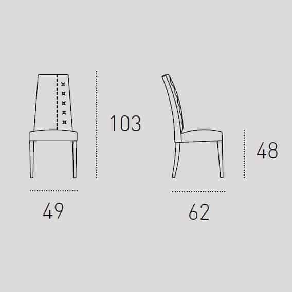 Καρέκλα Τραπεζαρίας Bellinzona Target Point - Διαστάσεις