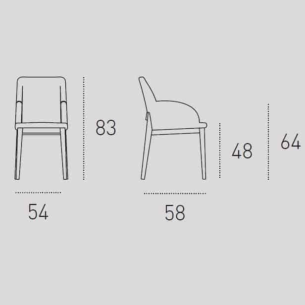 Καρέκλα Τραπεζαρίας Salisburgo Target Point - Διαστάσεις με Μπράτσα
