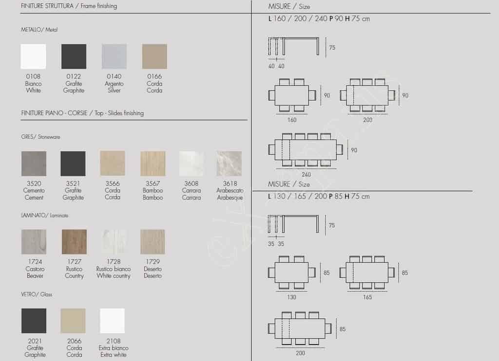 Τραπέζι Κουζίνας Saturno Target Point - Χρώματα & Διαστάσεις