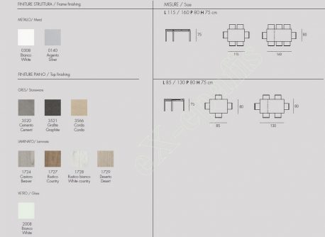 Τραπέζι Κουζίνας Perigeo Target Point - Χρώματα & Διαστάσεις
