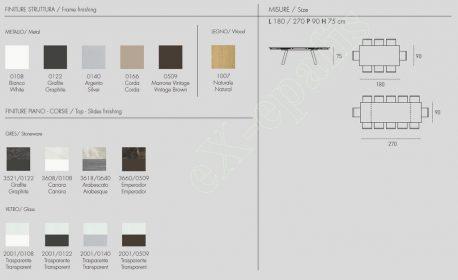Τραπέζι Marte 180cm - Χρώματα & Διαστάσεις