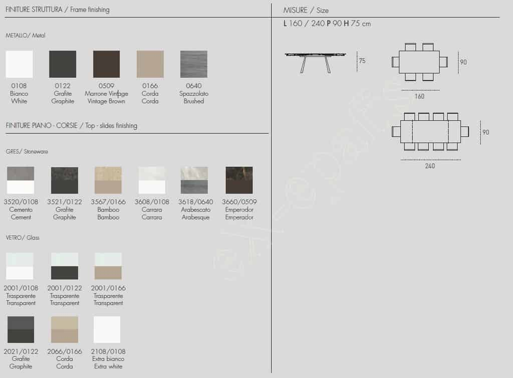 Τραπέζι Ponente 160cm - Χρώματα & Διαστάσεις