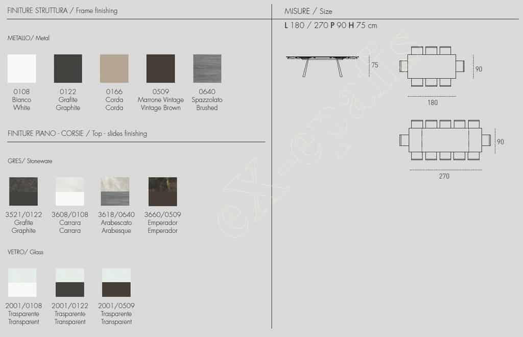 Τραπέζι Ponente 180cm - Χρώματα & Διαστάσεις