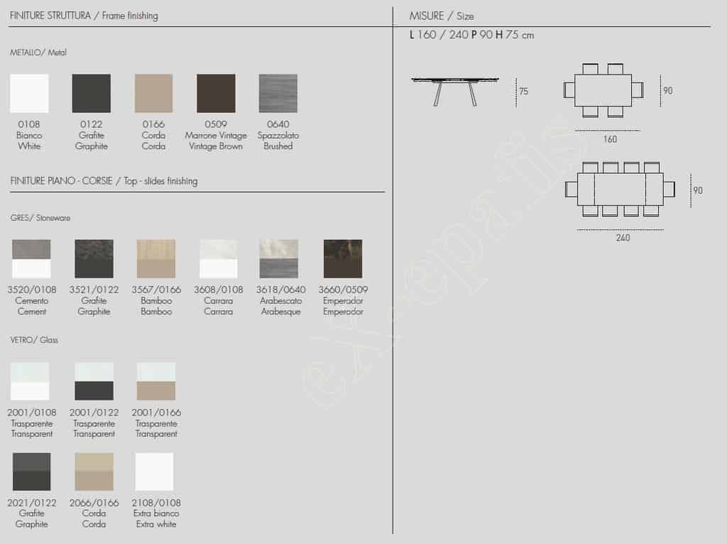 Τραπέζι Zeus 160cm Target Point - Χρώματα & Διαστάσεις