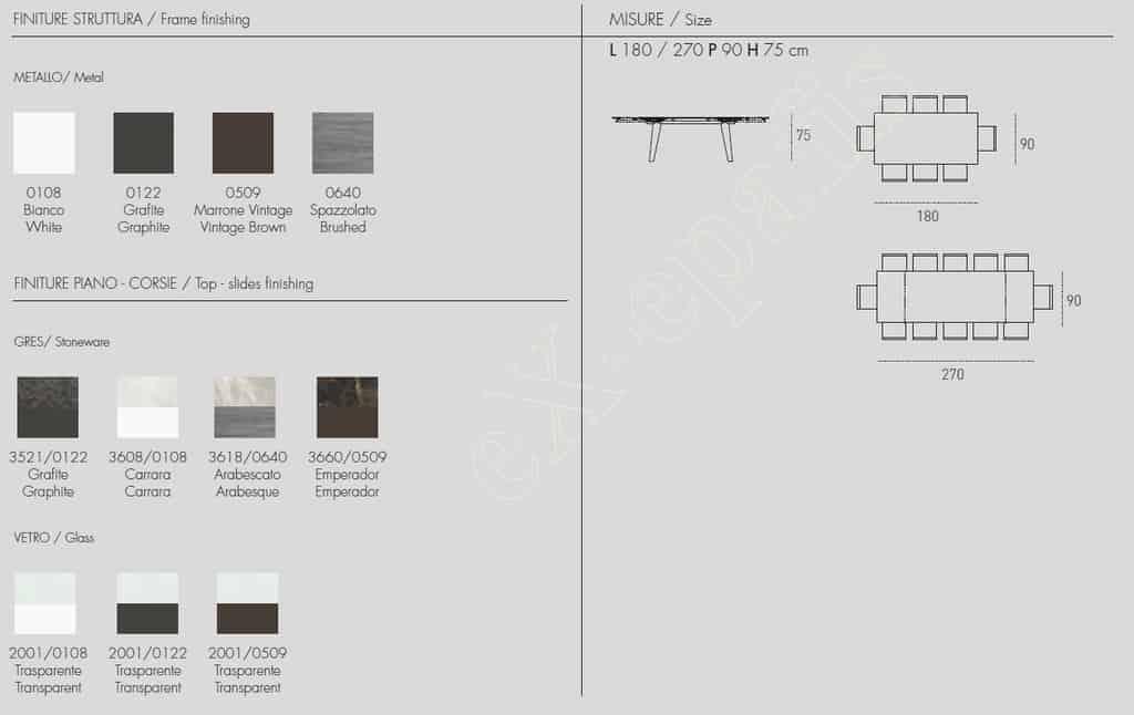 Τραπέζι Zeus 180cm Target Point - Χρώματα & Διαστάσεις